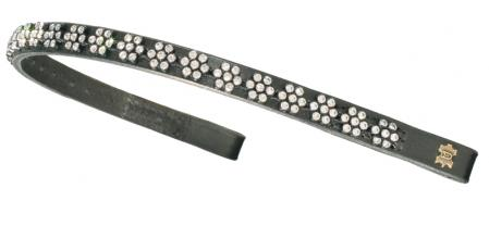 Browband with clear Swarovski crystal (diamante browbands) in a flower pattern, narrow leather show Browbands.