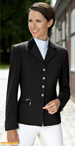 Skarlett Brown Pinstripe Show Jacket - velvet collar